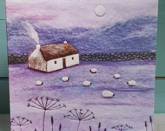 Winter's Garden - Printed Greetings Card - Winter Card - Snowy Night - Full Moon Over Snow - Seed Head Silhouettes - Sheep in Snow - Purple