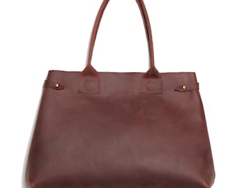 The Cocoon handmade Mahogany deep chocolate brown burgundy waxed oiled leather Large expandable shopper TOTE bag, brass hardware