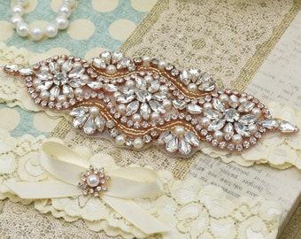 Wedding Garter, Bridal Garter, Garter Set, Rose Gold Garter, Lace Garter, Pearl Garter, Rhinestone Garter, Ivory Garter Set.