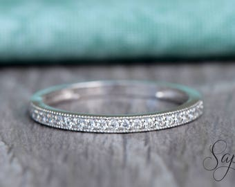 Half Eternity Milgrain Diamond Wedding Band in 14k Rose Gold,Sapphire/Moissanite Gemstone Stacking Ring,Diamond Band, Sttackable by Sapheena
