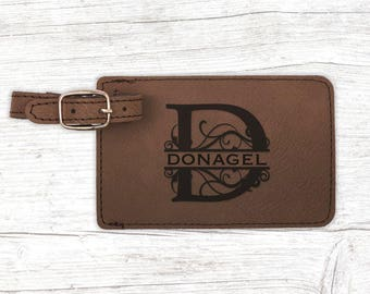 Personalized luggage tag, engraved luggage tag, leather luggage tag/Laser engraved suit case tag, Traveler gift, Wedding gift