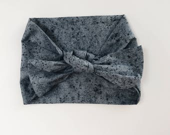 Cotton Slate Blue and Gray Splatter Print Headwrap/Headband - One Size Fits All