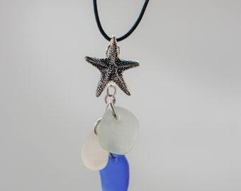 Sea glass PEI White, Blue, Aqua, Necklace with Starfish Charm