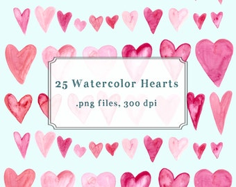 Valentine Watercolor Heart Clip Art, Blog Design Resource PNG
