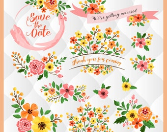 Fall watercolor floral elements, Pink orange yellow flowers, fall floral wreath, summer floral designs, Thanksgiving, fall clip arts