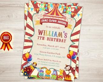 Carnival Invitation, Circus Invitation, Carnival 7th Birthday Invitation, Circus Birthday Invitation, Carnival Invite, Circus Invite