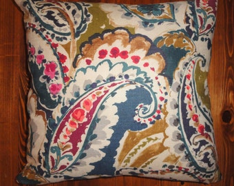 Paisley Floral Linen Blend PIllow Cover // ONLY ONE LEFT // 20x20 // Navy, Cranberry, Teal, Mustard, Gray, Ecru