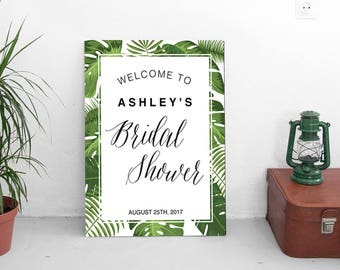 Welcome Bridal Shower sign | Tropical Party | INSTANT Download | PDF file editable with Acrobat Reader | personalized bridal party sign #TPC