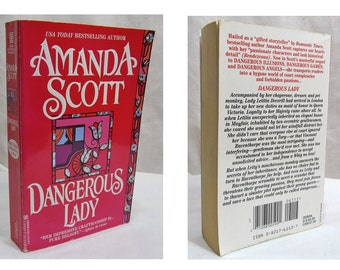 Dangerous Lady by Amanda Scott 1997 SIGNED by author, Historical Fiction Paperback Book Novel pub Zebra Books
