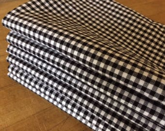 Black and White Gingham Cloth Napkins - Weddings, Parties, Everyday Meals by CHOW with ME