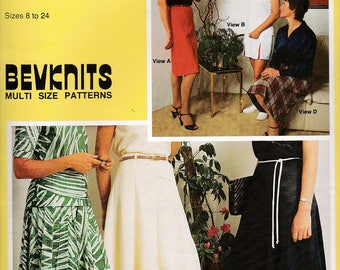 1980's Sewing Pattern - BevKnits No 7002 Ladies Skirt Gore, Straight, Flip, Multi Gore, Pleats, Size 8 - 24 Factory folded and complete