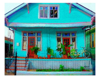 Colorful Houses, New Orleans Art, Shotgun Houses, New Orleans Print, NOLA Art, Bywater houses, Bicycle Art, Funky Houses, Korpita