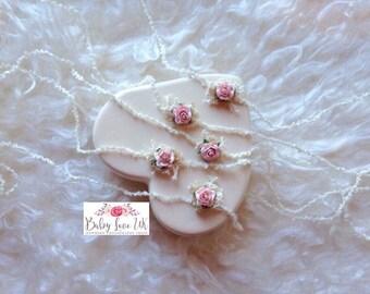 Rose Tieback, Pink Flower Tieback, Delicate Tieback, Baby Tieback, Dainty Tieback, Newborn Photo Prop, UK Seller