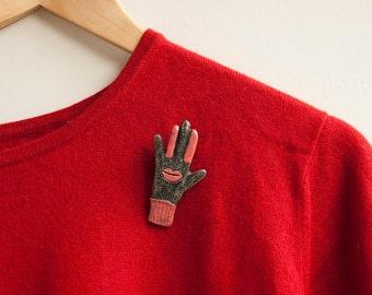 Lips Brooch Pin Red Kiss Glove