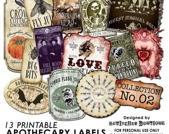 Apothecary Bottle Labels Jar Halloween printable paper art hobby crafting instant download digital collage sheet COLLECTION 2