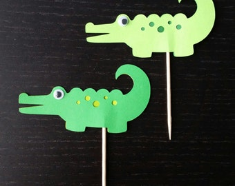 Set of 12 Crocodile Cupcake Topper-Alligator-Food Pick-Treat Pick-Birthday Party-Theme Party-Baby Shower-Jungle Party
