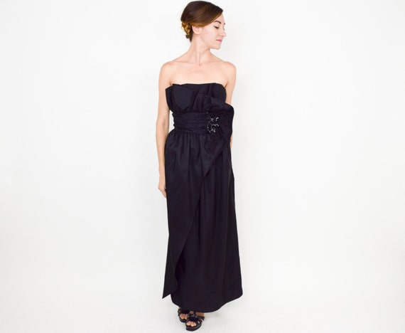 70s Black Prom Dress Strapless Sequin Evening Party Dress