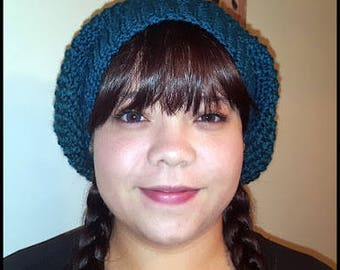 Teal Slouchy Hat, Slouch, Beanie, Hats, Crochet Hat, Handmade