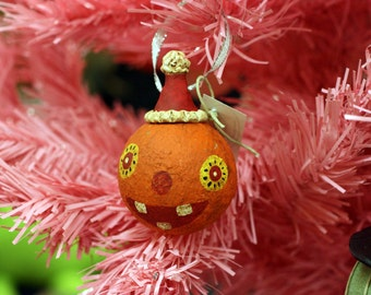 Happy Folk Art Pumpkin Ornament