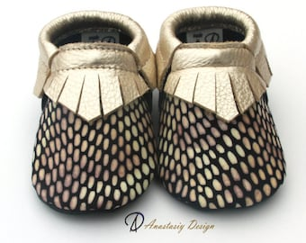 Little Bee Gold Fringed Leather Baby Moccasins Baby Girl Moccasins Baby Girl Shoes, Toddler Moccasins