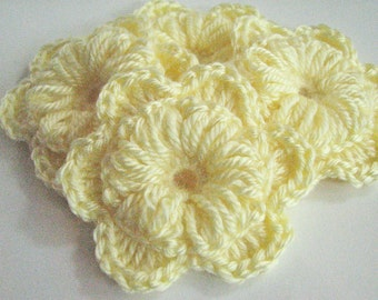 Crochet Flowers - Two Layer Baby Pastel Yellow - Larger Flowers - 4 Total