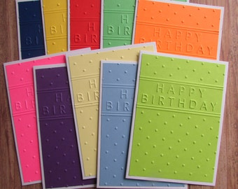 10 Embossed Birthday cards-multi colored gender neutral,assorted Happy Birthday cards,stationery,Kids Birthday cards,handmade/homemade cards