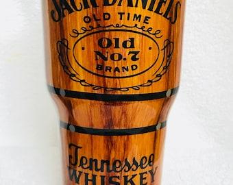 Jack Daniels inspired, Wood grain, hand painted, personalized, 30 oz., Ozark Trails 30 oz. tumbler.