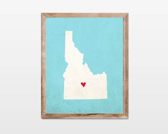 Idaho Silhouette Personalized Map Art 8x10 Print. Map Silhouette Art. Idaho State Map Art Gift. Pick Your Colors and Heart Placement.