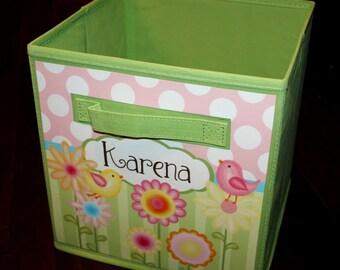 Sweet Meadow Birdie Birds Fabric Bin Girl's Personalized Bedroom Baby Nursery Organizer for Toys or Clothing FB0008
