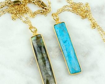 Labradorite Gold Bar Necklace | Labradorite Pendant Necklace | Blue Flash Labradorite