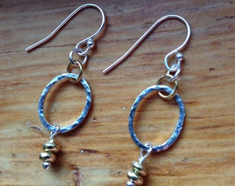 Hammered mixed metal ovals delicate southwestern dangle earrings