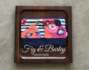 Navy florals make up bag, zipper pouch, carry all, pouch, Make up bag, Women, Cosmetics Bag, bridesmaid gift, makeup, bag