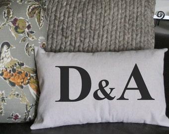 Monogram Pillow, Wedding Pillow, Couples Pillow, Decorative Pillow, 12x16 Pillow, Hostess Gift, Burlap Pillow,