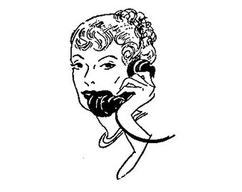 CLEARANCE Retro Telephone Gossip Lady Rubber Stamp