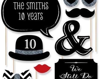 Custom Anniversary - 20 Piece Anniversary Photo Booth Props Kit