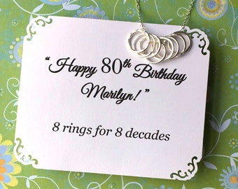 80th BIRTHDAY Gift for Grandma 8 Rings for 8 Decades Necklace for Mom STERLING SiLVER 80th Birthday Gift for Sister Gift for Her Made in USA