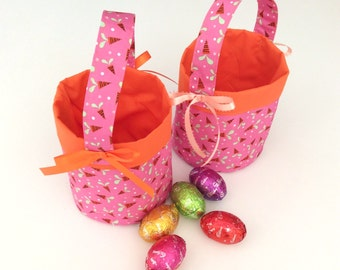 Easter Egg Baskets,Pink & Carrot, Circular Quality Hand Made