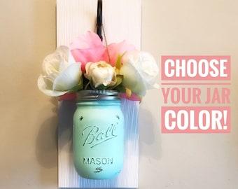 Custom Mason Jar Wall Sconce, Mason Jar Wall Decor, Mason Jar Wall Vase, Mason Jar Wall Holder, Mason Jar Wall Planter, Hanging Mason Jars