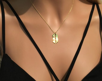 Gold Razor Necklace - Razor Blade Necklace - Edgy Necklace - Gold Vermeil Necklace