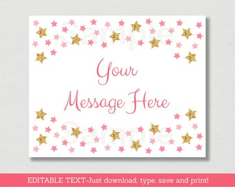 Twinkle Star Baby Shower Welcome Sign / Twinkle Star Baby Shower / Gold Glitter / Pink & Gold / Instant Download Editable PDF A196