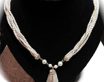 Vintage Pearl Tassel Necklace lariat Necklaces,Bridal Necklace VA-180