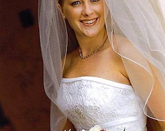 "Elbow length wedding veil - 34"" length bridal veil with Pencil serge eding. Ready to ship."