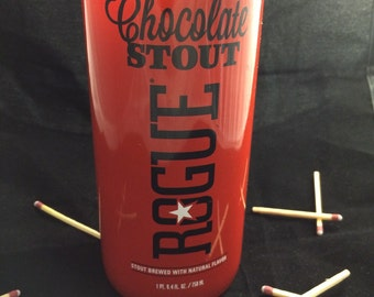 Custom Soy Upcycled Beer Bottle Container Candle-ROGUE BREWING Double Chocolate Stout