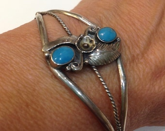 """Native Turquoise Cuff VTG Native American Sterling Silver Turquoise Leaf Squash Blossom Rope Center Cuff Bracelet Fits SZ 6 to 6.25"""" Wrist"""