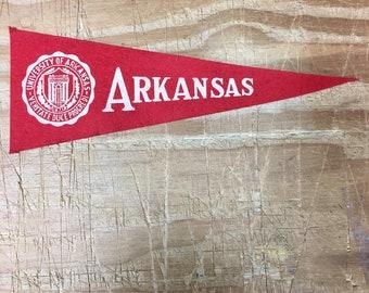 1950's Vintage Arkansas Razorbacks University Mini Pennant Flag Banner 3.5x9.5 inches
