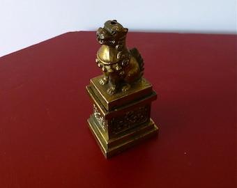 Vintage Foo Dog Incense Burner, Antique Brass Asian Censer, Made in Japan