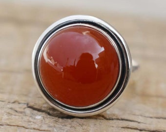 Beautiful Round Red Onyx Ring,Perfect Women's Gift Ring,Solid 925 Stering Silver Onyx Ring,Gift for her,Handmade Jewelry,Natural Onyx Ring