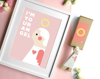 Nursery Angel Print. Guardian Angel poster for girls with pink background. Christening, Birthday, Christmas gift. DIY gift.