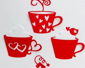 Cup of Love Cardstock Die Cuts Choose your colors!