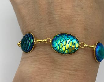 Fairytale Mermaid bracelet, Mermaid scales bracelet or anklet , ankle bracelet mermaid jewelry, beach bracelet, aqua mermaid scales